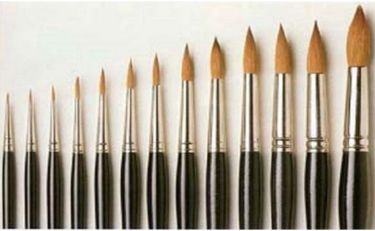 成都画室不同型号的画笔